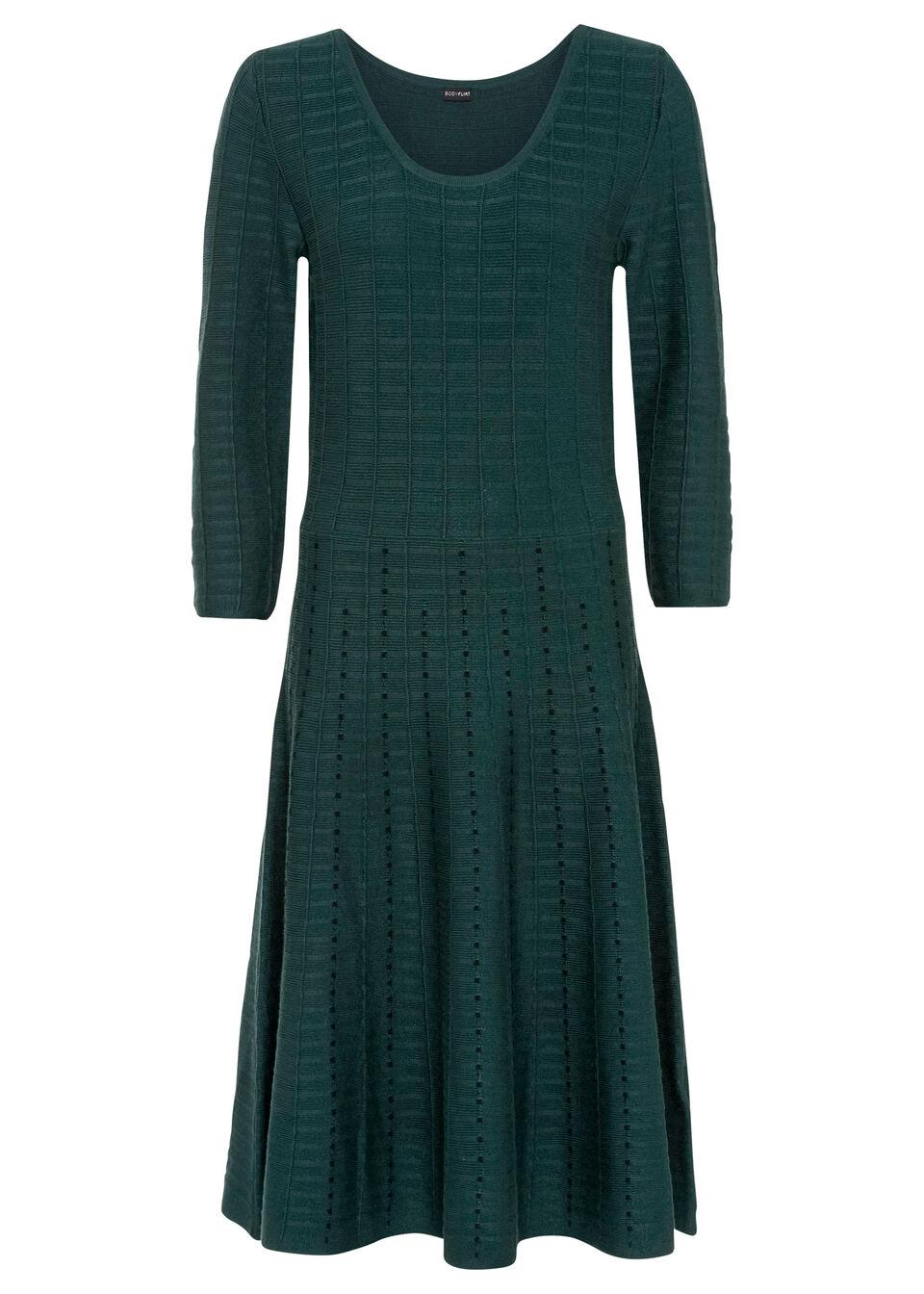 Sukienka dzianinowa w paski bonprix głęboki zielony - czarny