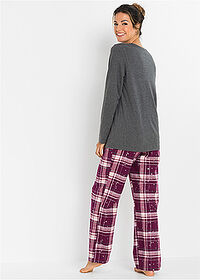 Pijama cu pantalon din finet antracit melanj carouri bpc bonprix collection 2