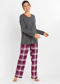 Pijama cu pantalon din finet antracit melanj carouri bpc bonprix collection 1