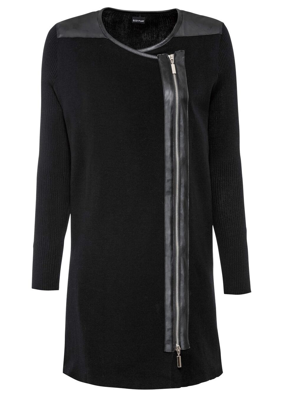 Dlhý pletený sveter so zipsom bonprix