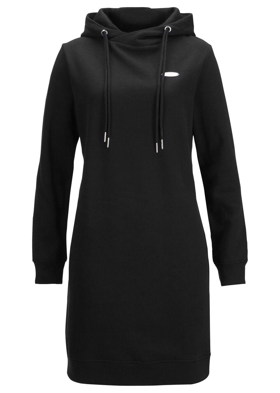 Sukienka dresowa z kapturem bonprix czarny
