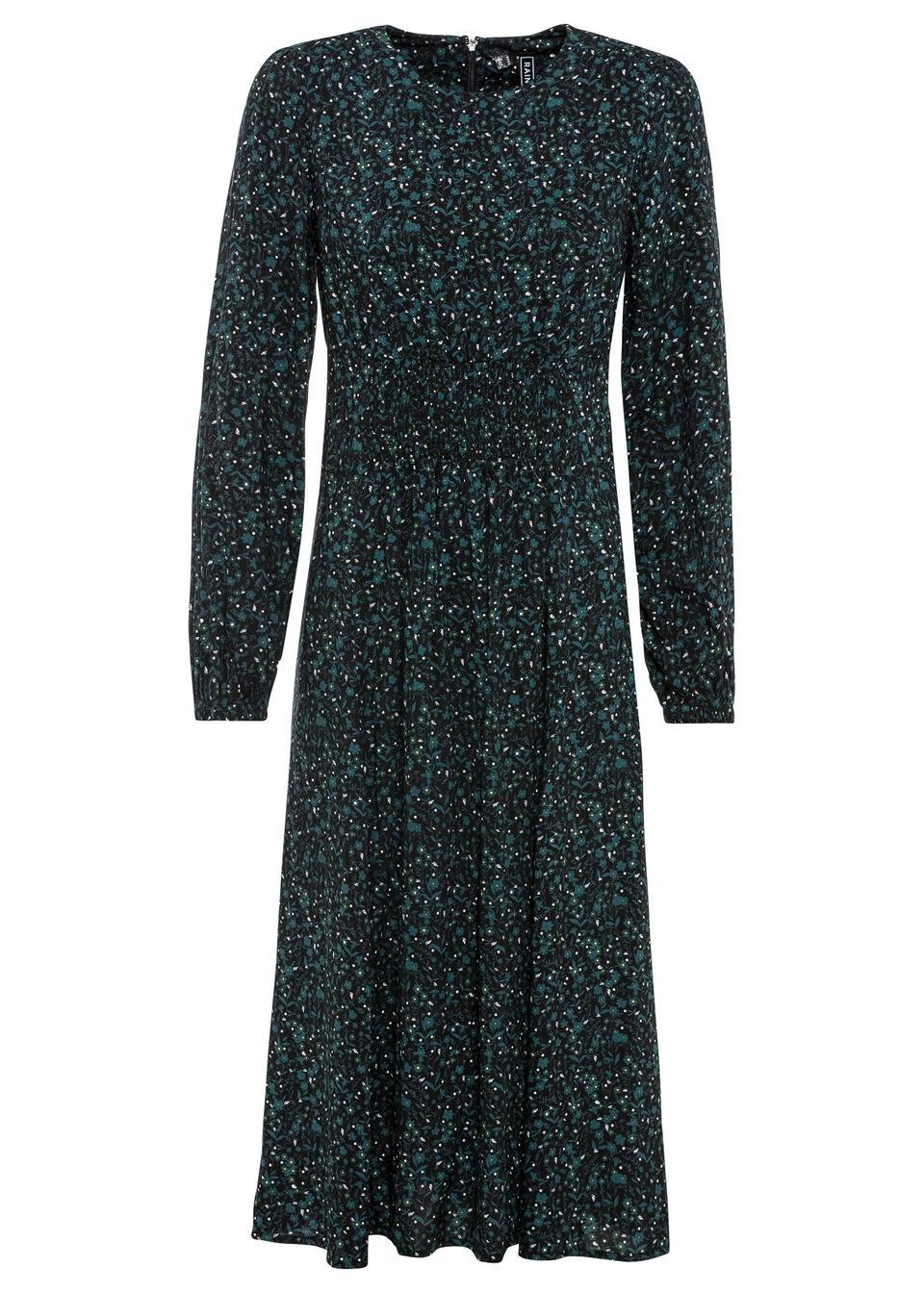 Sukienka midi bonprix czarno-niebieskozielony w kwiaty