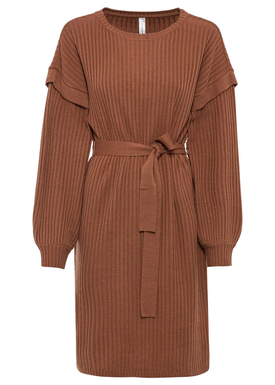 Sukienka dzianinowa z wiązanym paskiem bonprix kasztanowy brązowy