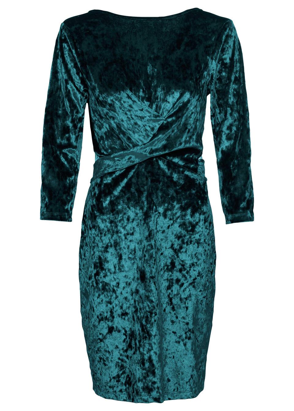 Sukienka z materiału w optyce aksamitu bonprix ciemnozielony