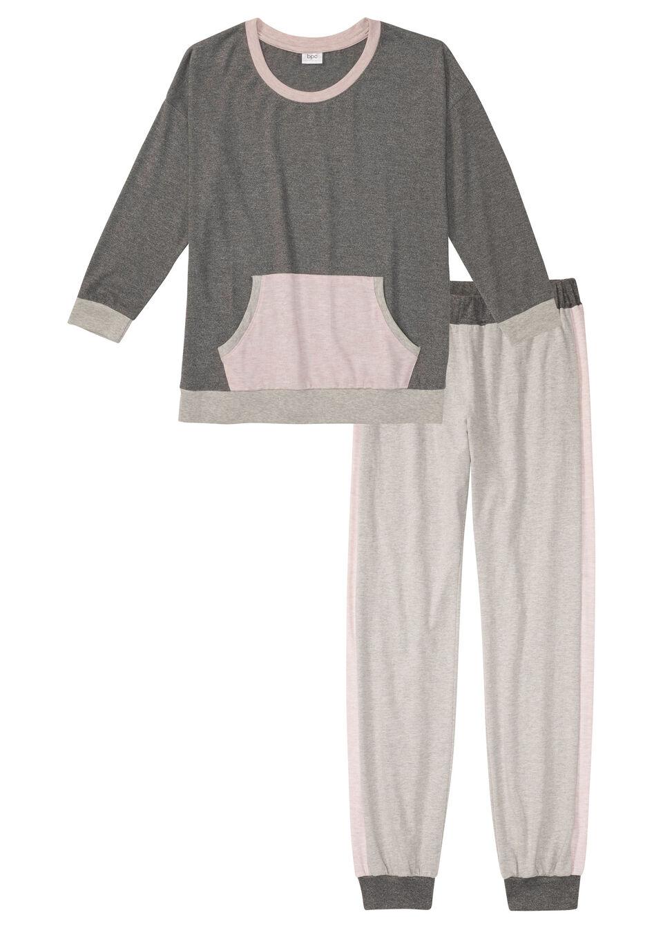 Piżama z miękkiego materiału bonprix szary melanż - jasnoróżowy