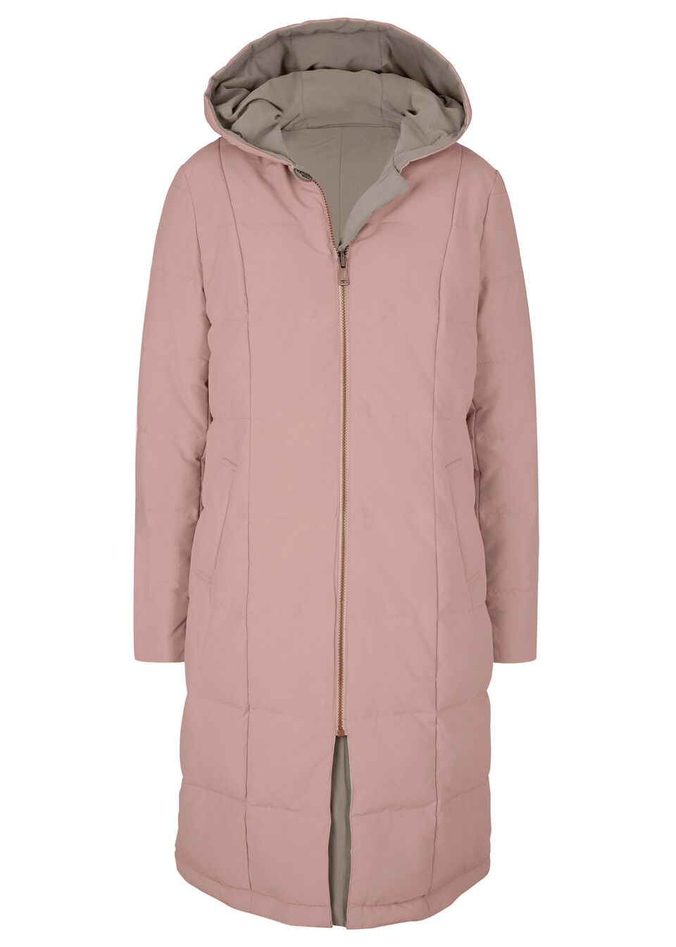 Długa kurtka pikowana dwustronna stary jasnoróżowy – brunatny Bonprix 947484