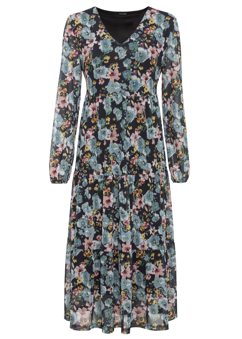 Sukienka z siatkowego materiału bonprix czarny w kwiaty