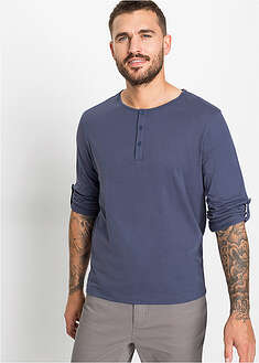 Shirt z dekoltem henley, długi rękaw bpc bonprix collection 50