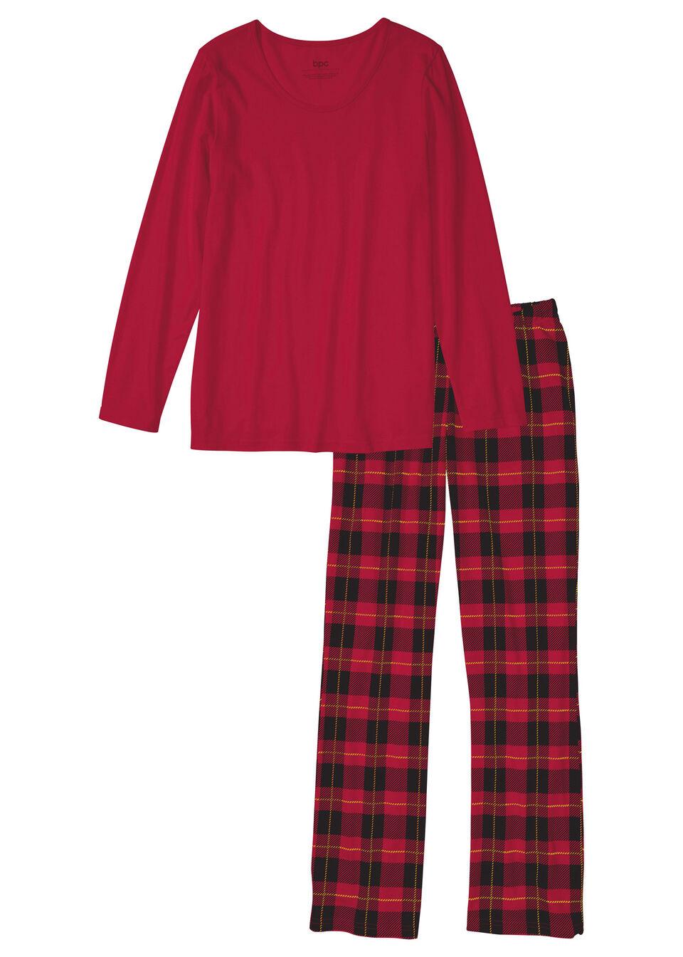 Piżama bonprix pomarańczowo-czerwony w kratę