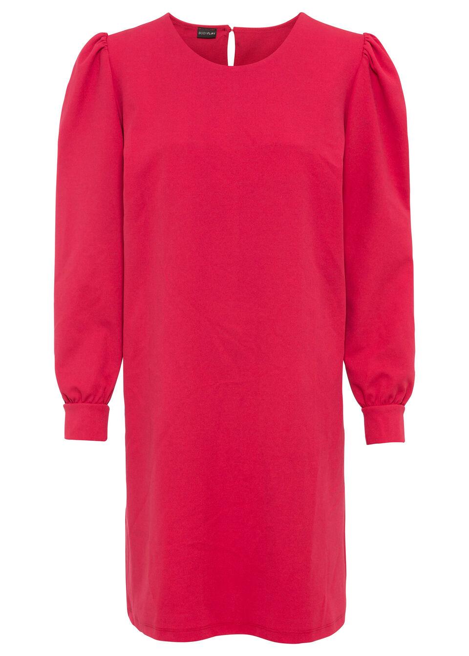 Sukienka z rękawami bufkami bonprix czerwony