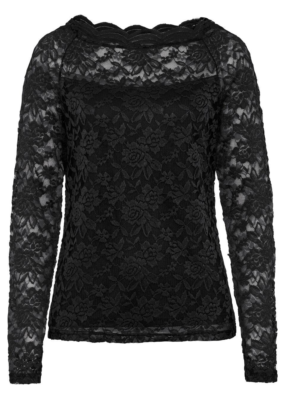 Shirt koronkowy bonprix czarny