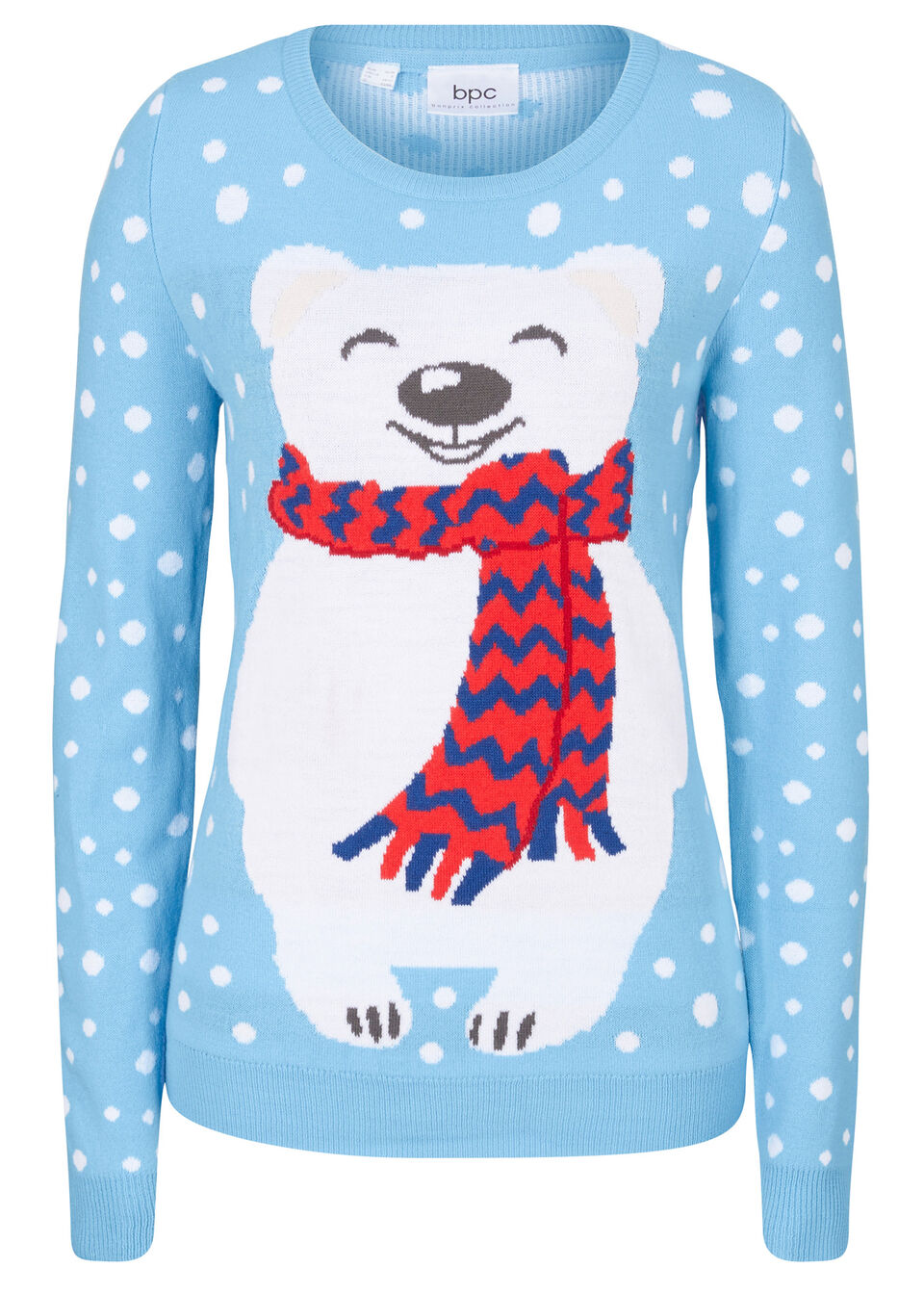 Sweter z bożonarodzeniowym motywem bonprix jasnoniebieski