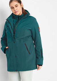 Geacă stretch lungă din softshell verde-piper/salvie bpc bonprix collection 1