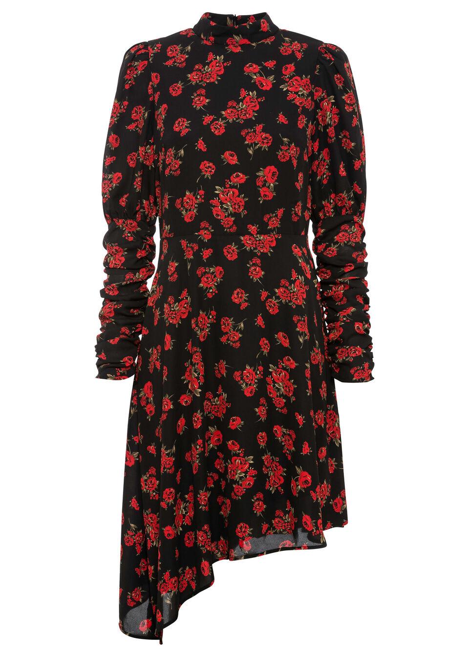 Sukienka bonprix czarno-czerwono-zielono-biały w kwiaty