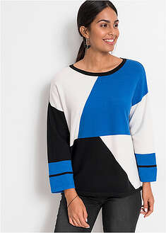 "Sweter boxy we wzór ""colour-blocking"" BODYFLIRT 19"