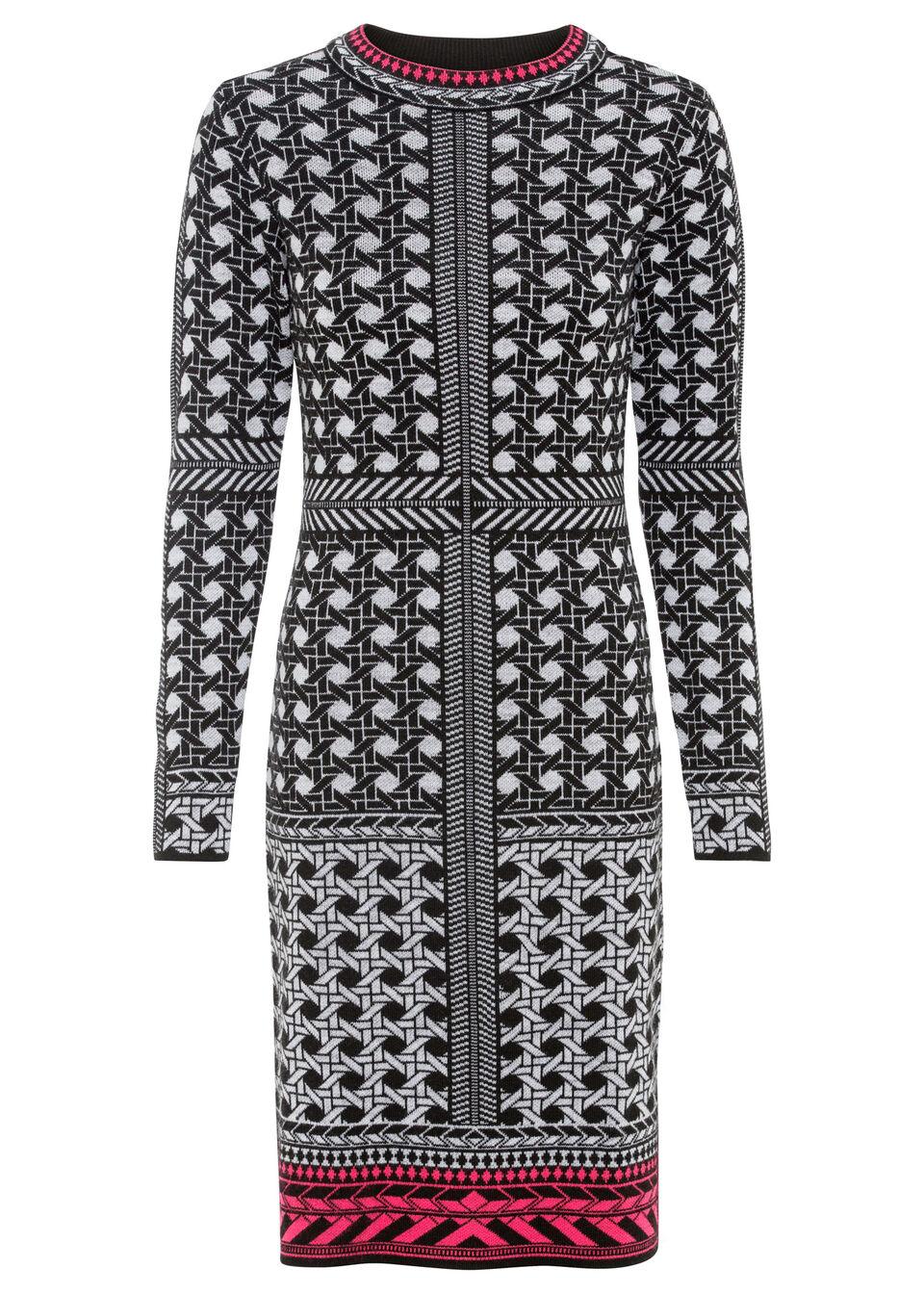 Sukienka dzianinowa bonprix czarno-szaro-biel wełny wzorzysty