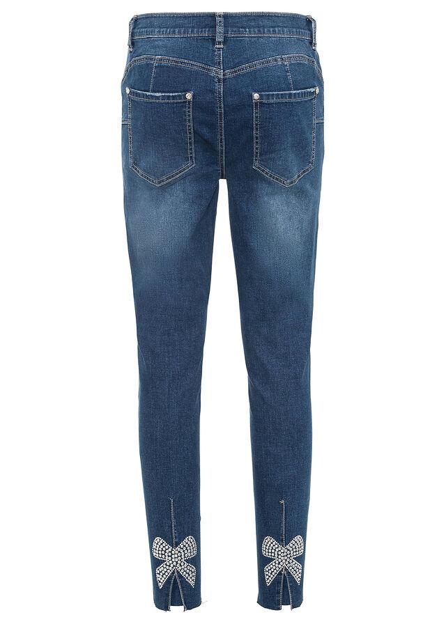 Skinny džínsy s aplikáciou mašlí