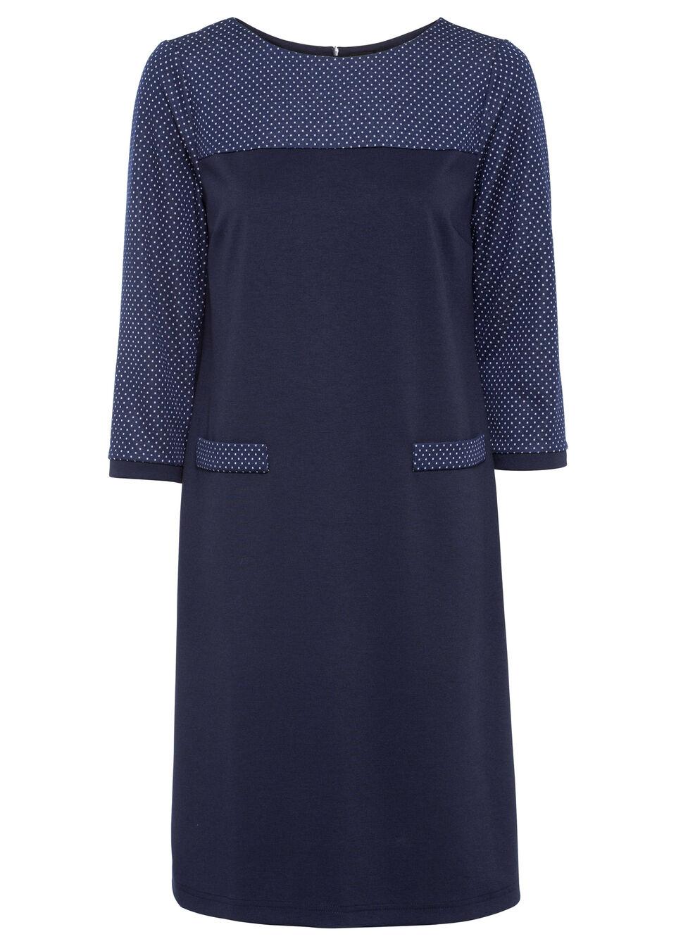Sukienka z dżerseju, rękawy 3/4 bonprix ciemnoniebiesko-biały