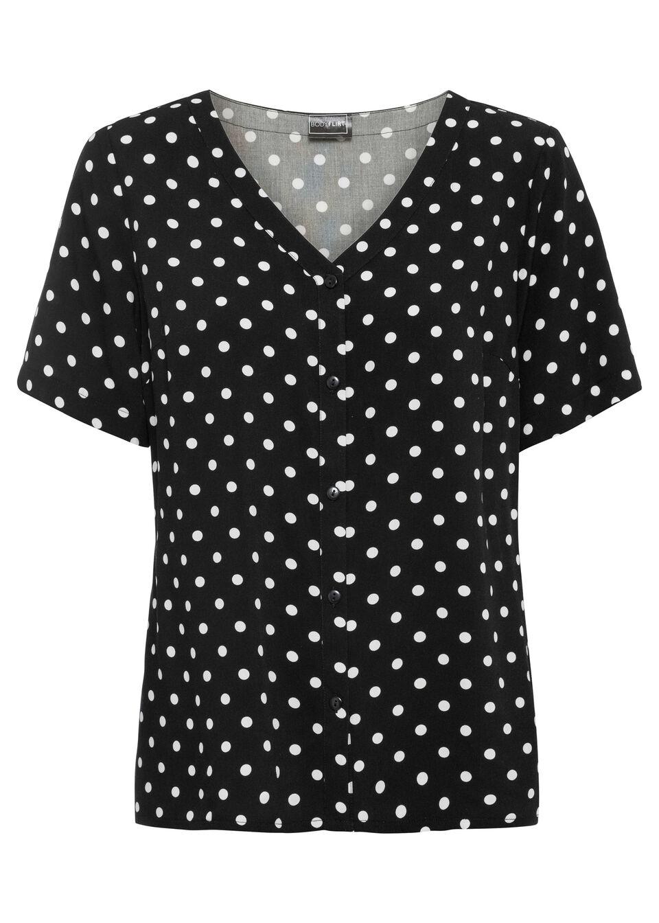 Bluzka z krótkim rękawem w groszki bonprix czarno-biały w kropki