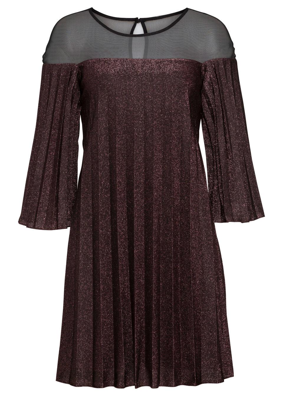 Sukienka plisowana z brokatowym połyskiem bonprix ciemny lila - srebrny
