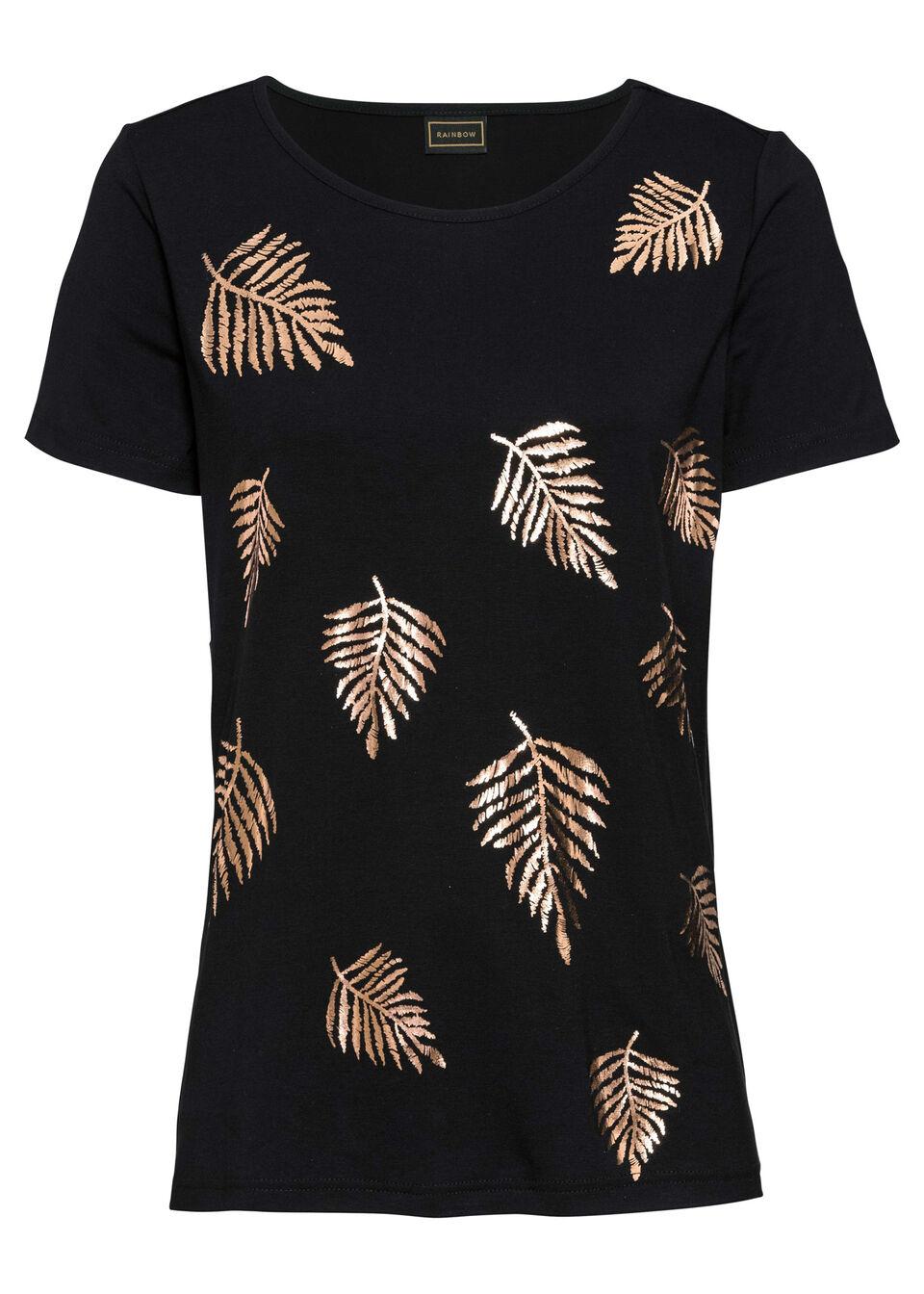 Shirt z połyskującym nadrukiem bonprix czarny z nadrukiem różowego złota