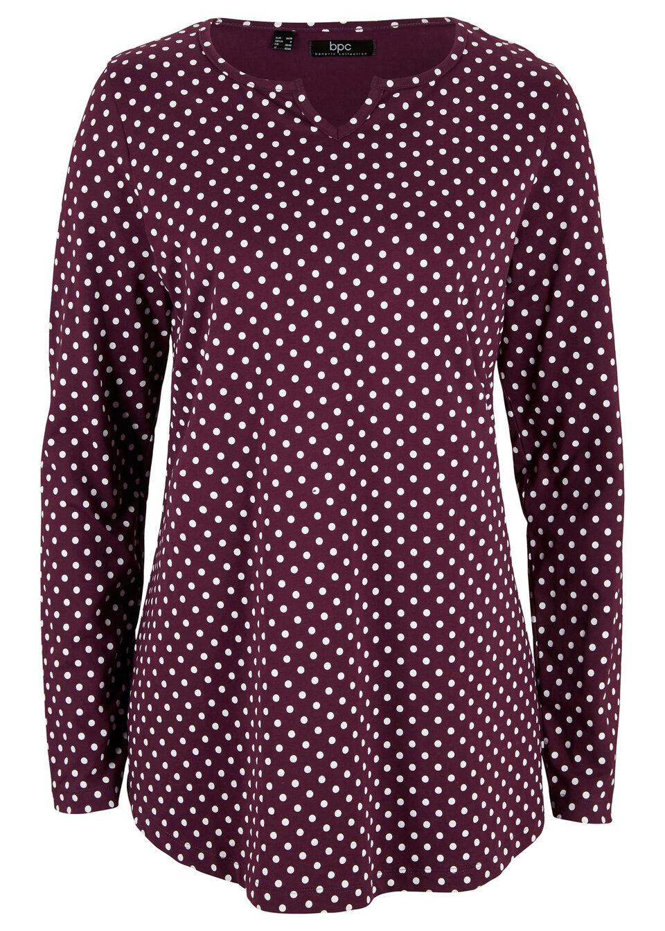Shirt w kropki, z długim rękawem i rozcięciami po bokach bonprix czarny bez - biały w kropki