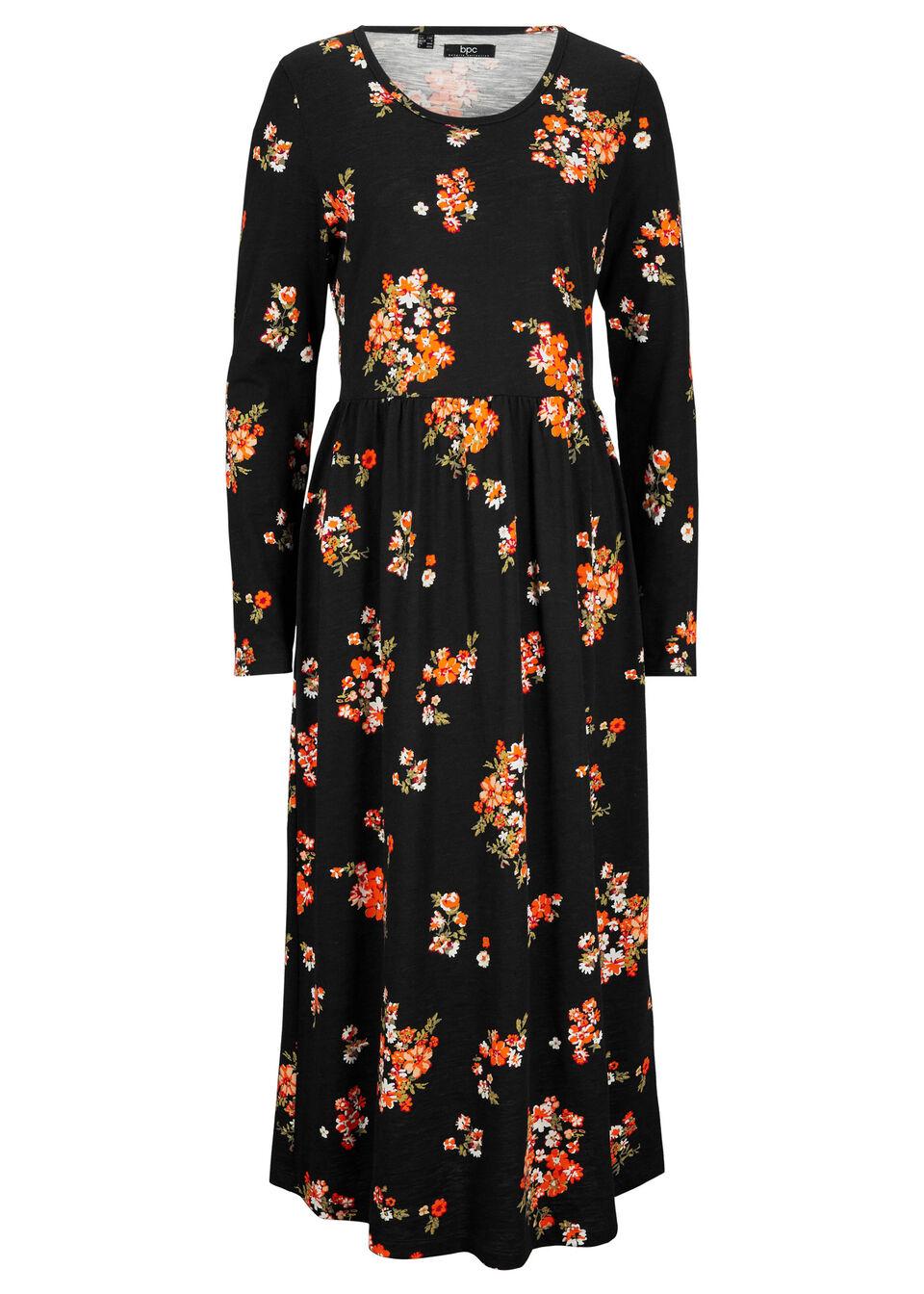 Rozkloszowana sukienka maxi z dżerseju, długi rękaw bonprix czarno-ciemnopomarańczowy w kwiaty