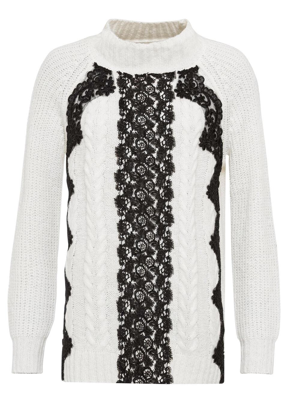 Sweter z koronką bonprix biel wełny - czarny