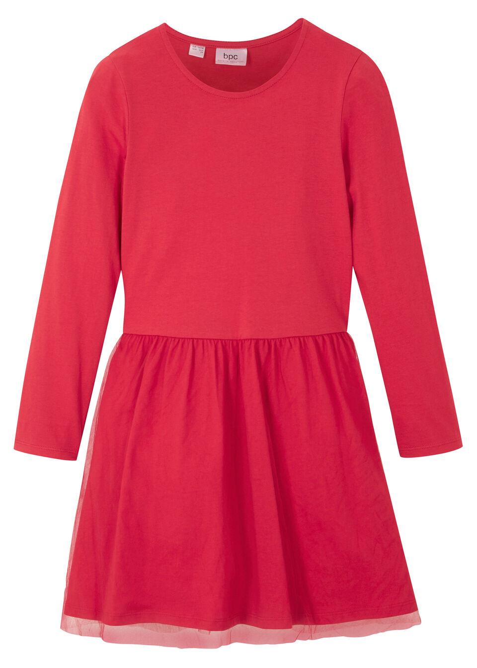 Sukienka dziewczęca z dżerseju z tiulem bonprix czerwony