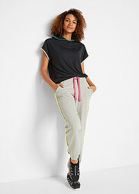 Pantaloni jogging, nivel 1 gri deschis melanj bpc bonprix collection 3