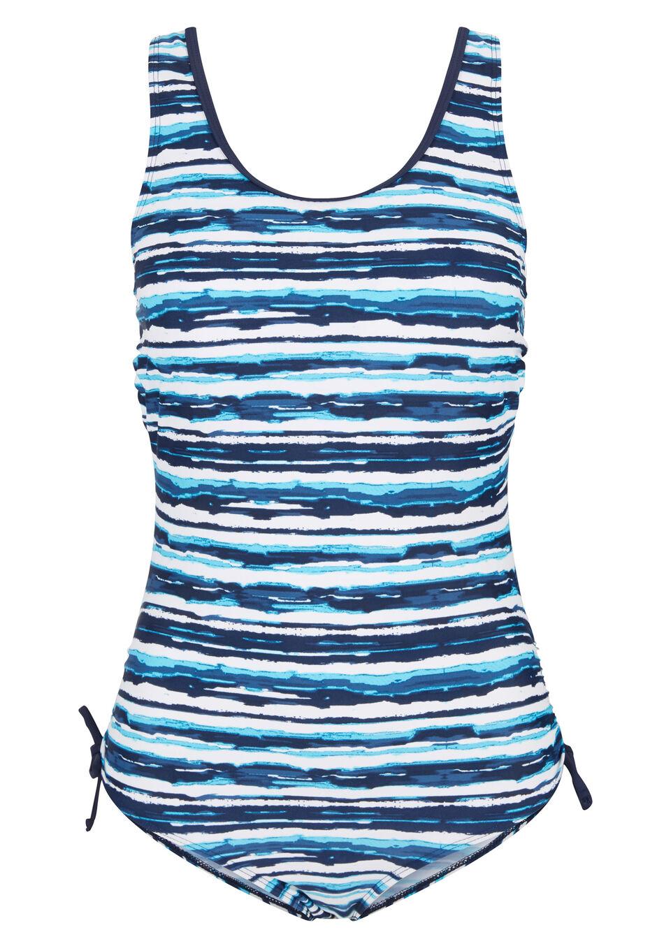 Kostium kąpielowy bonprix biało-niebiesko-turkusowy wzorzysty