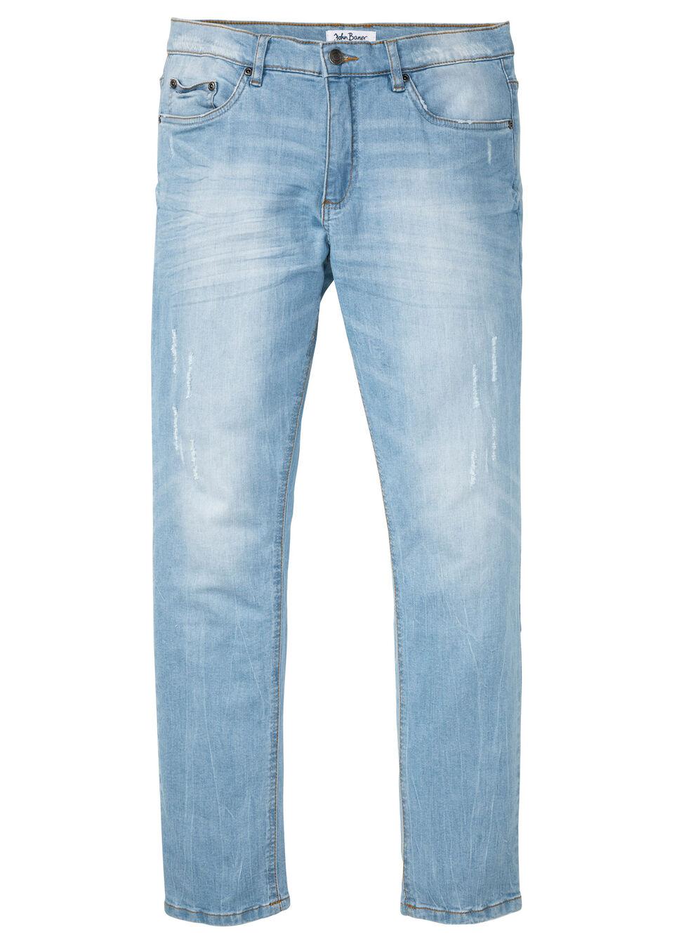 Dżinsy ze stretchem Slim Fit Straight bonprix jasnoniebieski denim