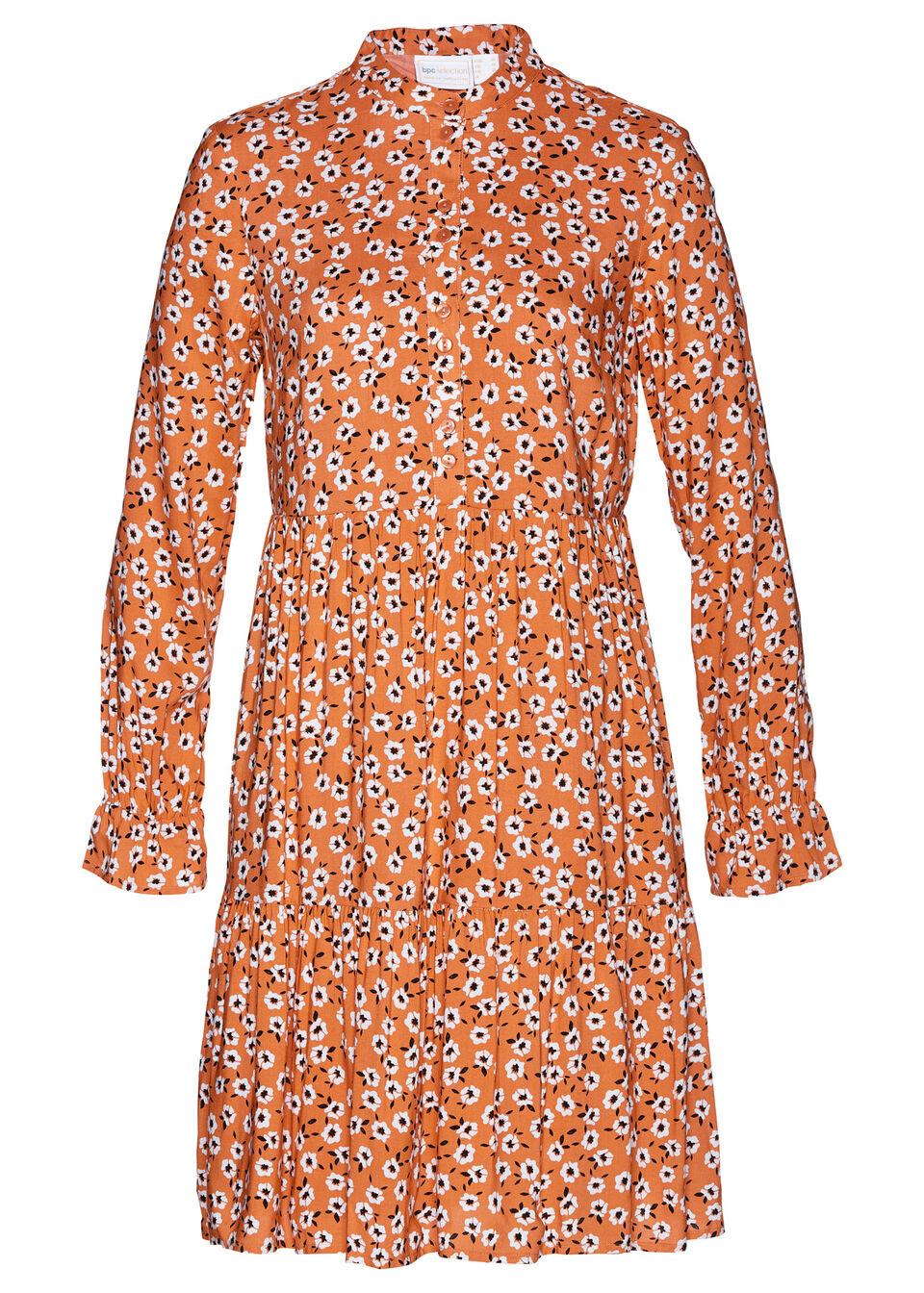 Sukienka z wiskozy bonprix matowy mandarynkowy - biały w kwiaty