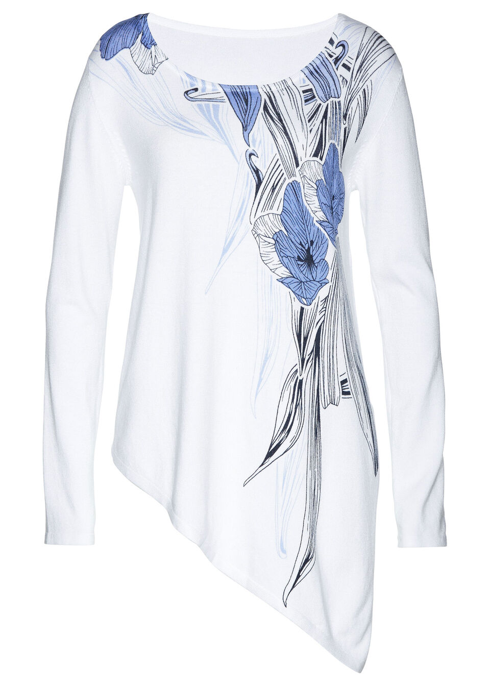 Długi sweter bonprix biało-ciemnoniebieski z kwiatowym nadrukiem