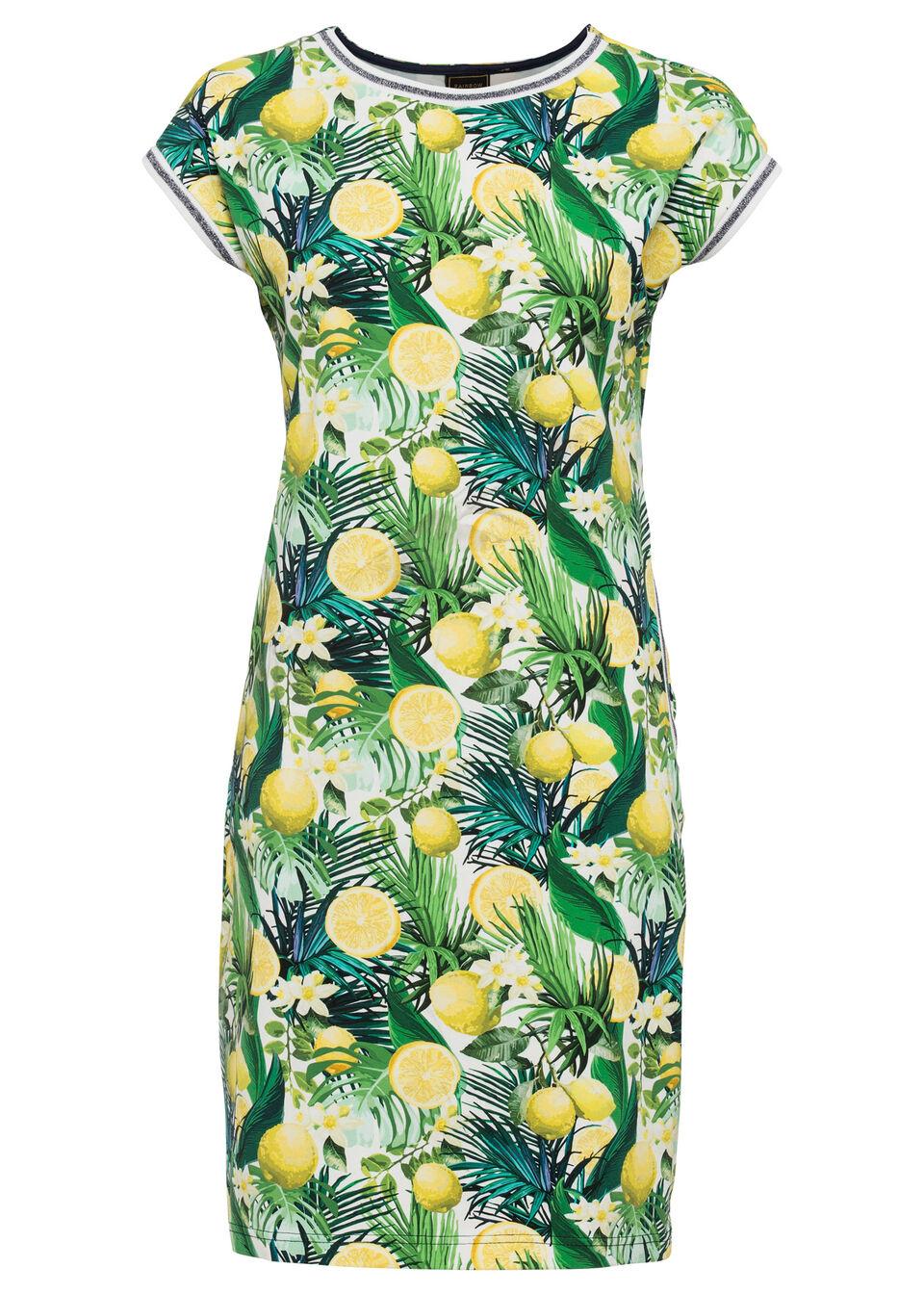 Sukienka z dżerseju, krótki rękaw bonprix żółto-zielono-biały wzorzysty