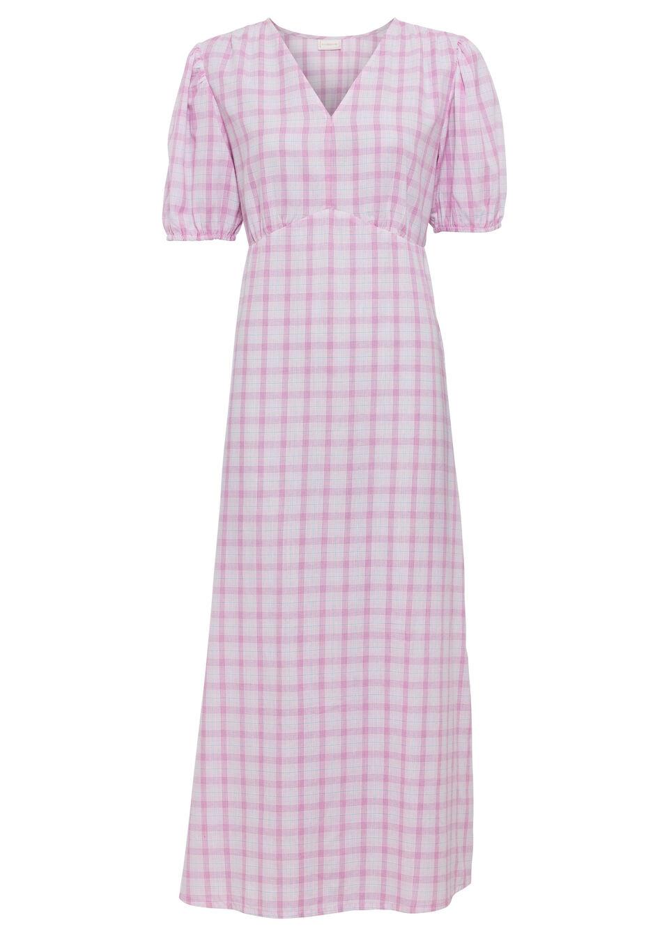 Sukienka midi bonprix kolor bzu - biały w kratę