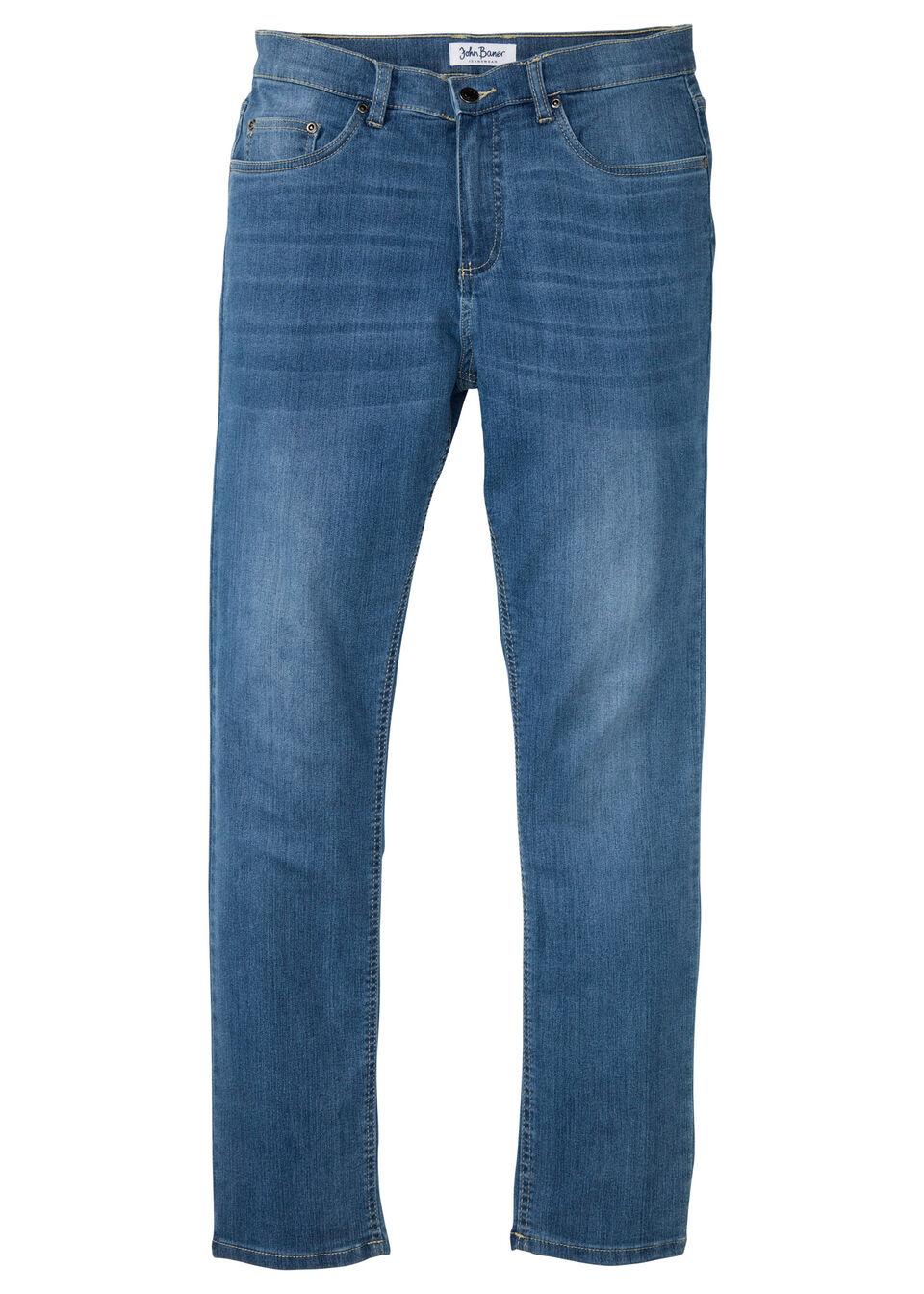 Dżinsy z miękkiego materiału ze stretchem Slim Fit Straight bonprix jasnoniebieski denim