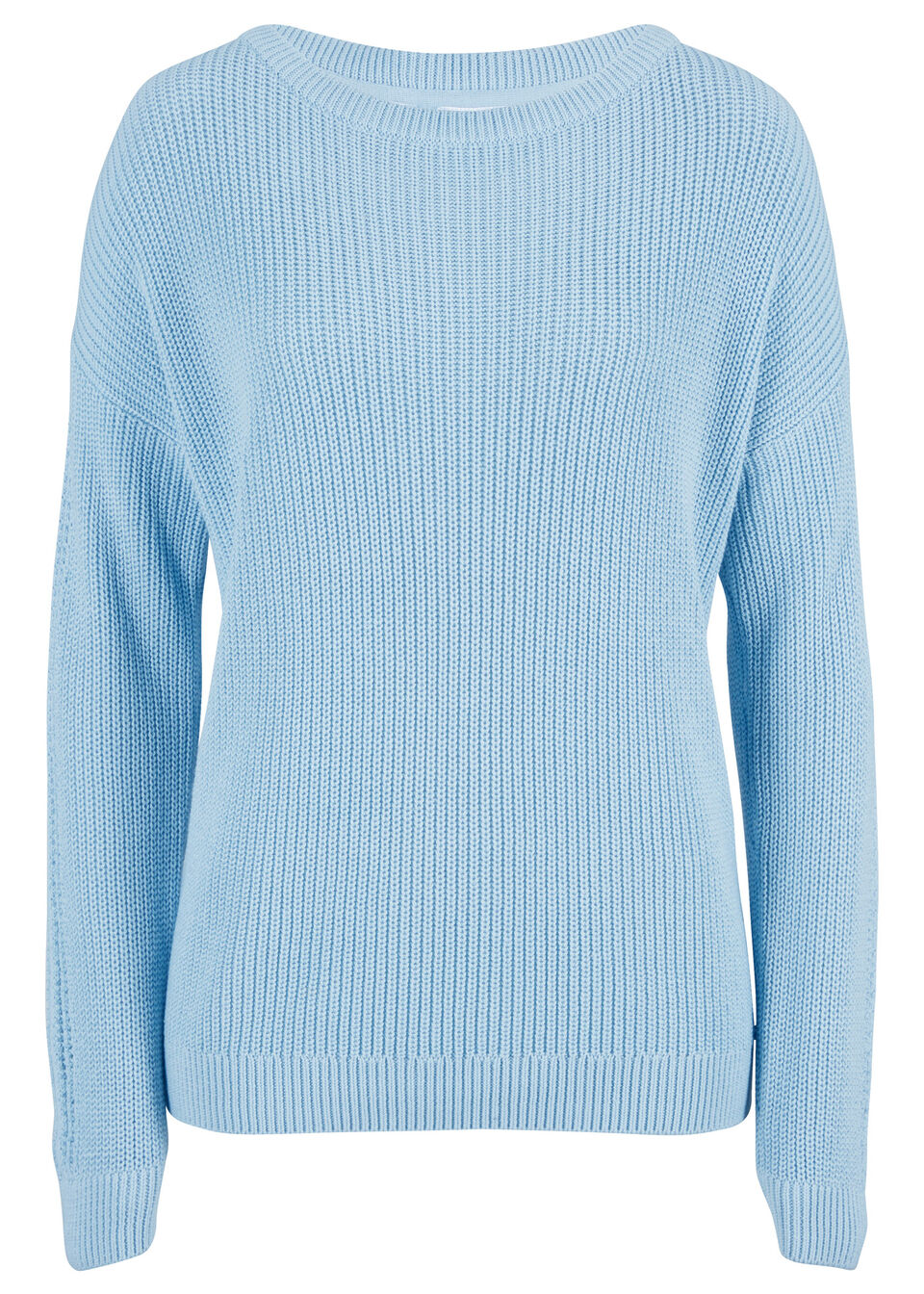 Sweter z dekoltem w łódkę i ażurowym wzorem w rękawach bonprix Sweter dek.łód ażur p.nieb