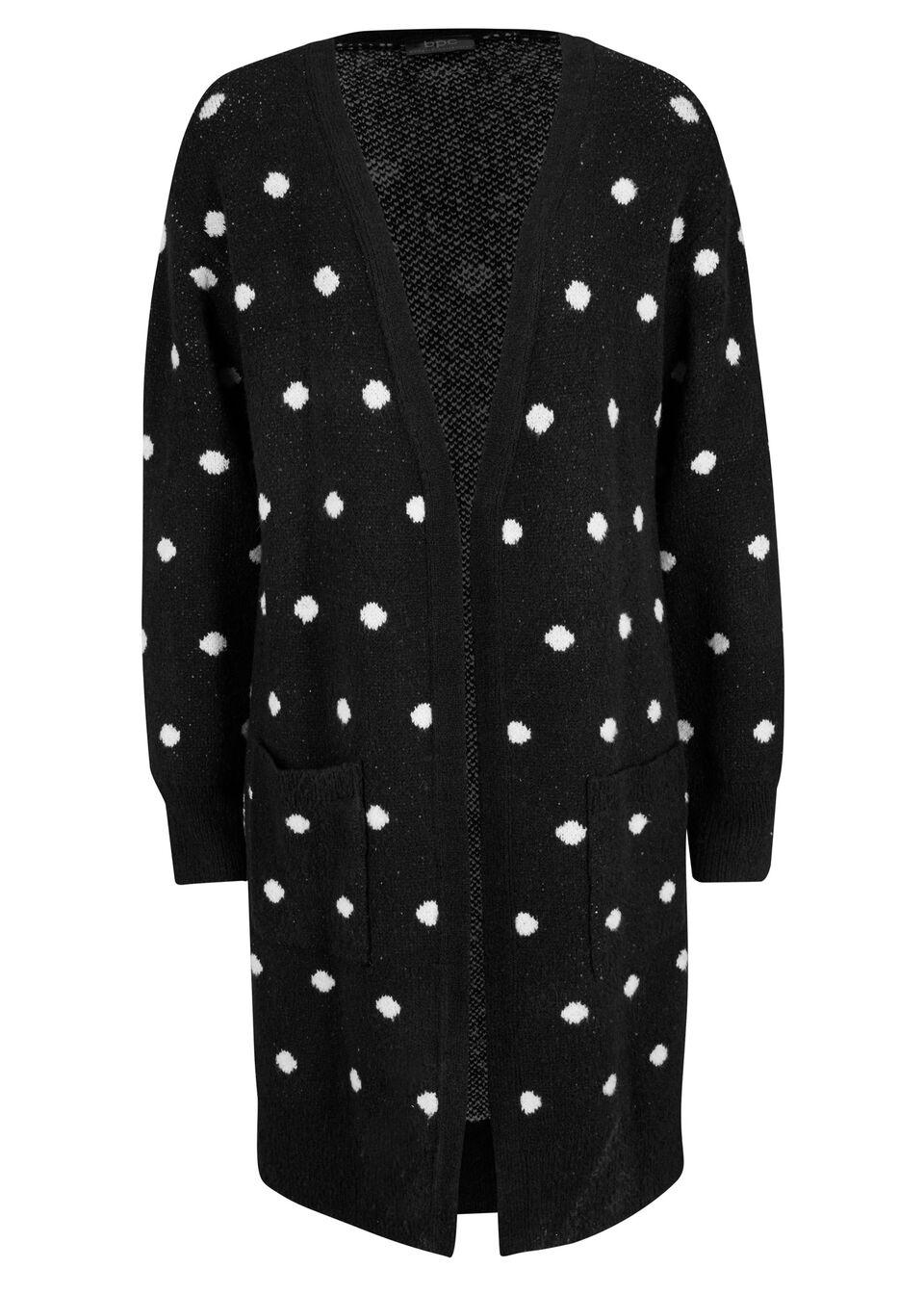 Dlhý pletený sveter s vreckami bonprix