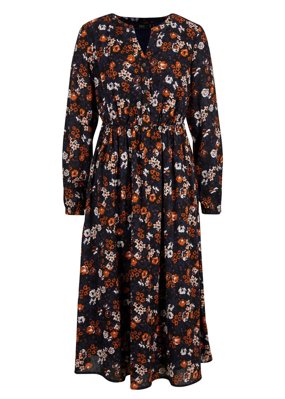 Sukienka midi z bawełny kreszowanej z nadrukiem bonprix rdzawopomarańczowy w kwiaty