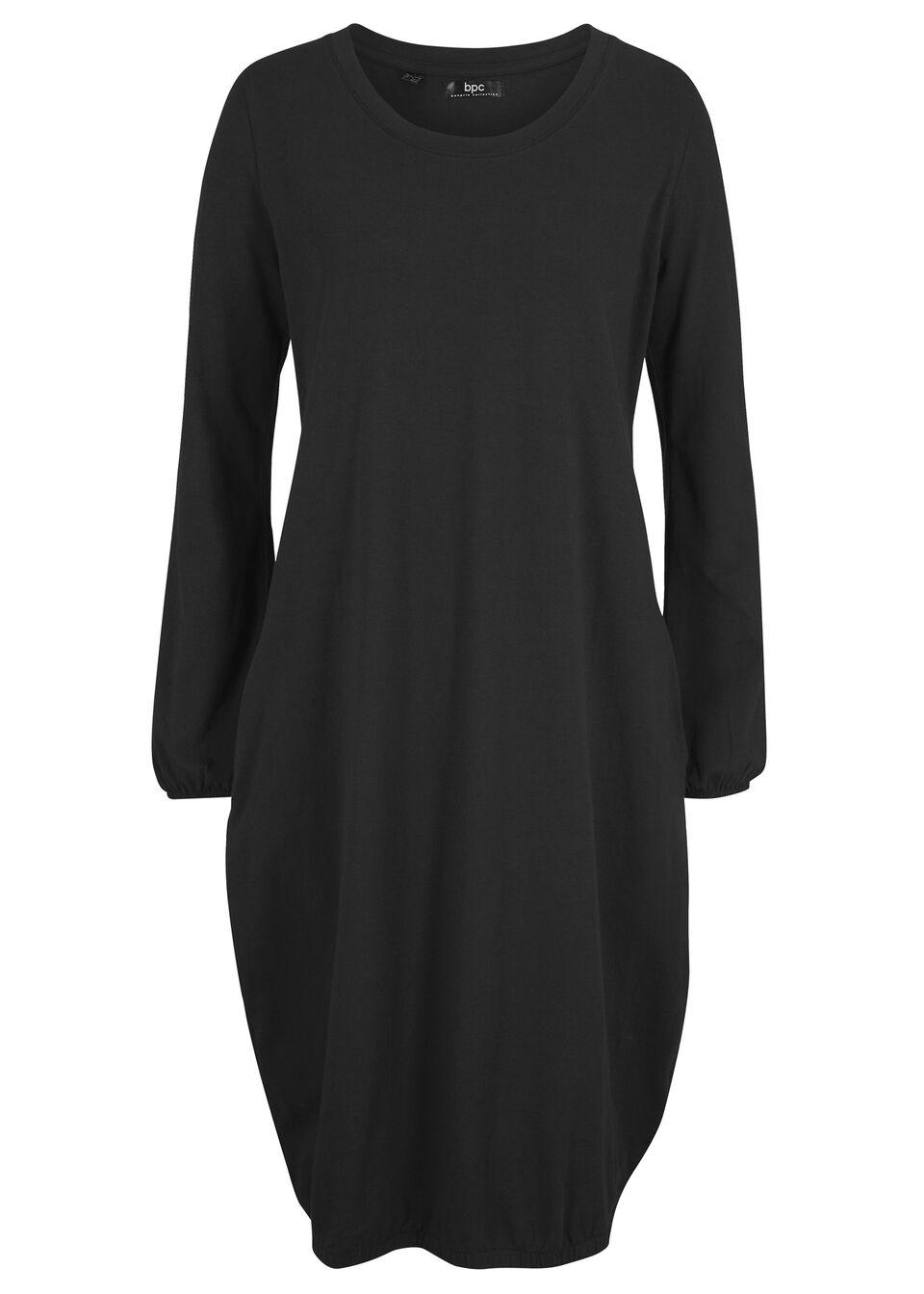 Sukienka z dżerseju z gumką w talii, długi rękaw bonprix czarny