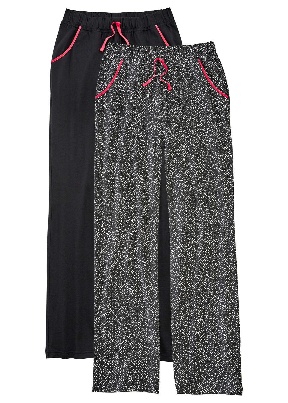 Spodnie do spania (2 pary) bonprix czarny + w groszki