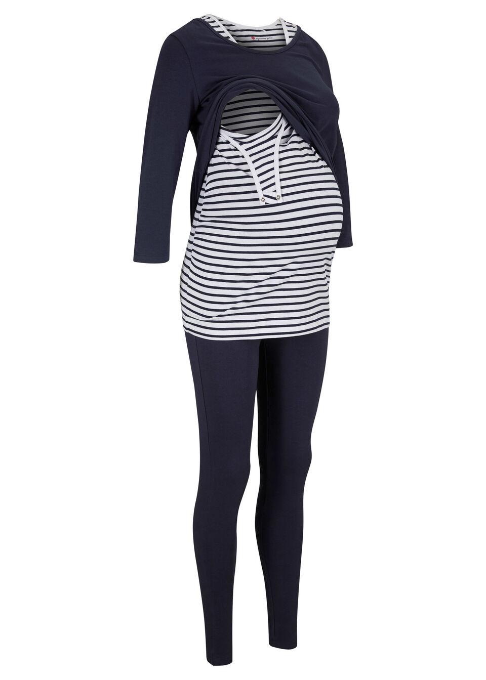 Komplet ciążowy: top + shirt + legginsy (3 części), bawełna organiczna bonprix ciemnoniebieski