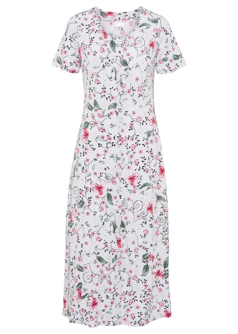 Sukienka midi z nadrukiem bonprix biały w kwiaty