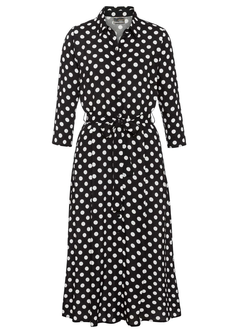 Sukienka midi w groszki bonprix czarno-biały w groszki