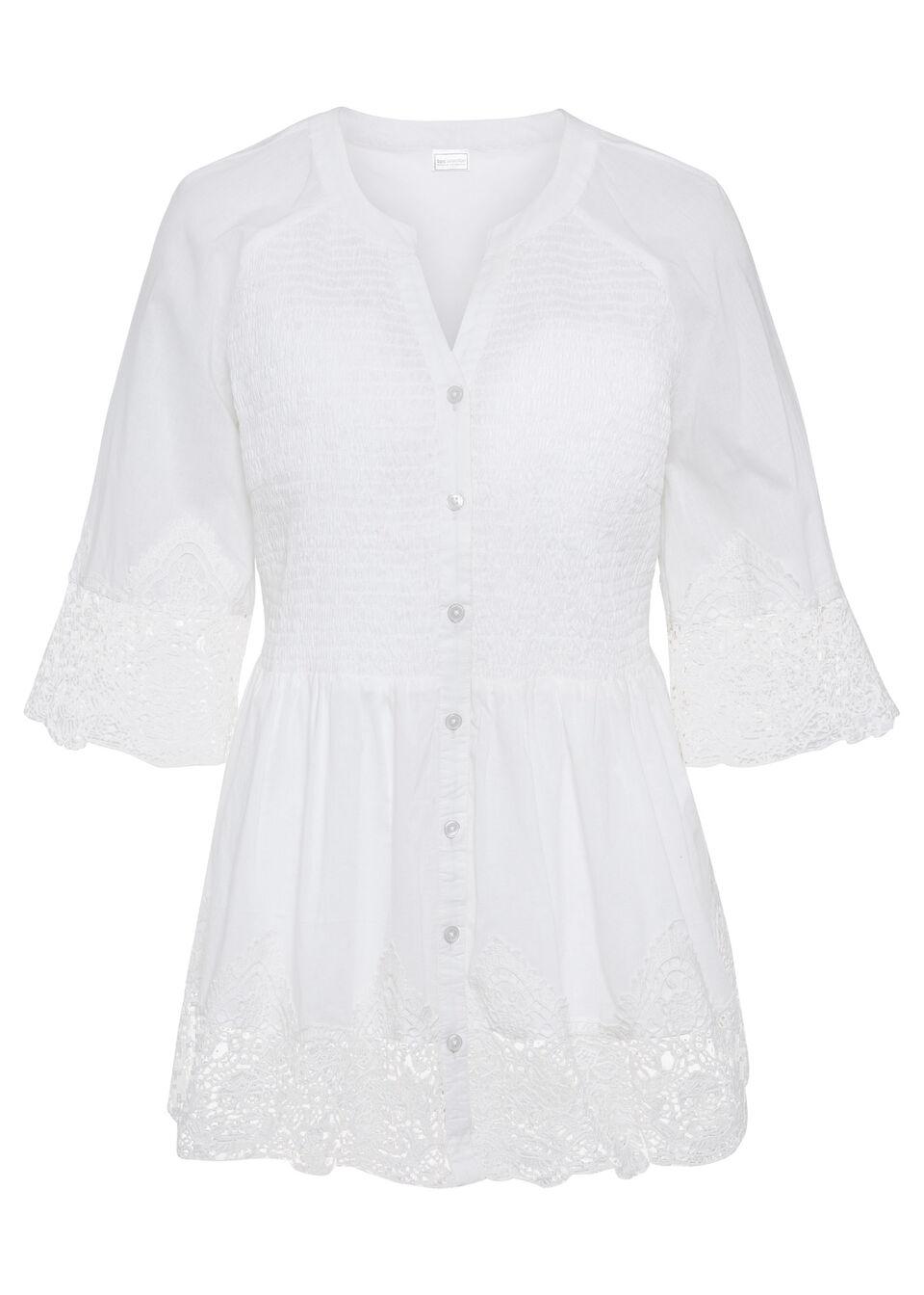 Bluzka, rękawy 3/4 bonprix biały