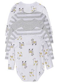 Body bebe (5buc.), bumbac eco gri melanj/alb imprimat bpc bonprix collection 1