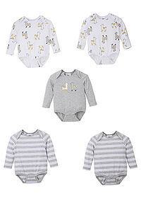 Body bebe (5buc.), bumbac eco gri melanj/alb imprimat bpc bonprix collection 2