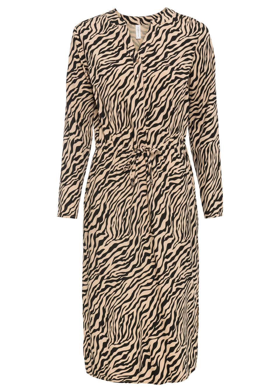 Sukienka midi bonprix beżowo-czarny w paski zebry