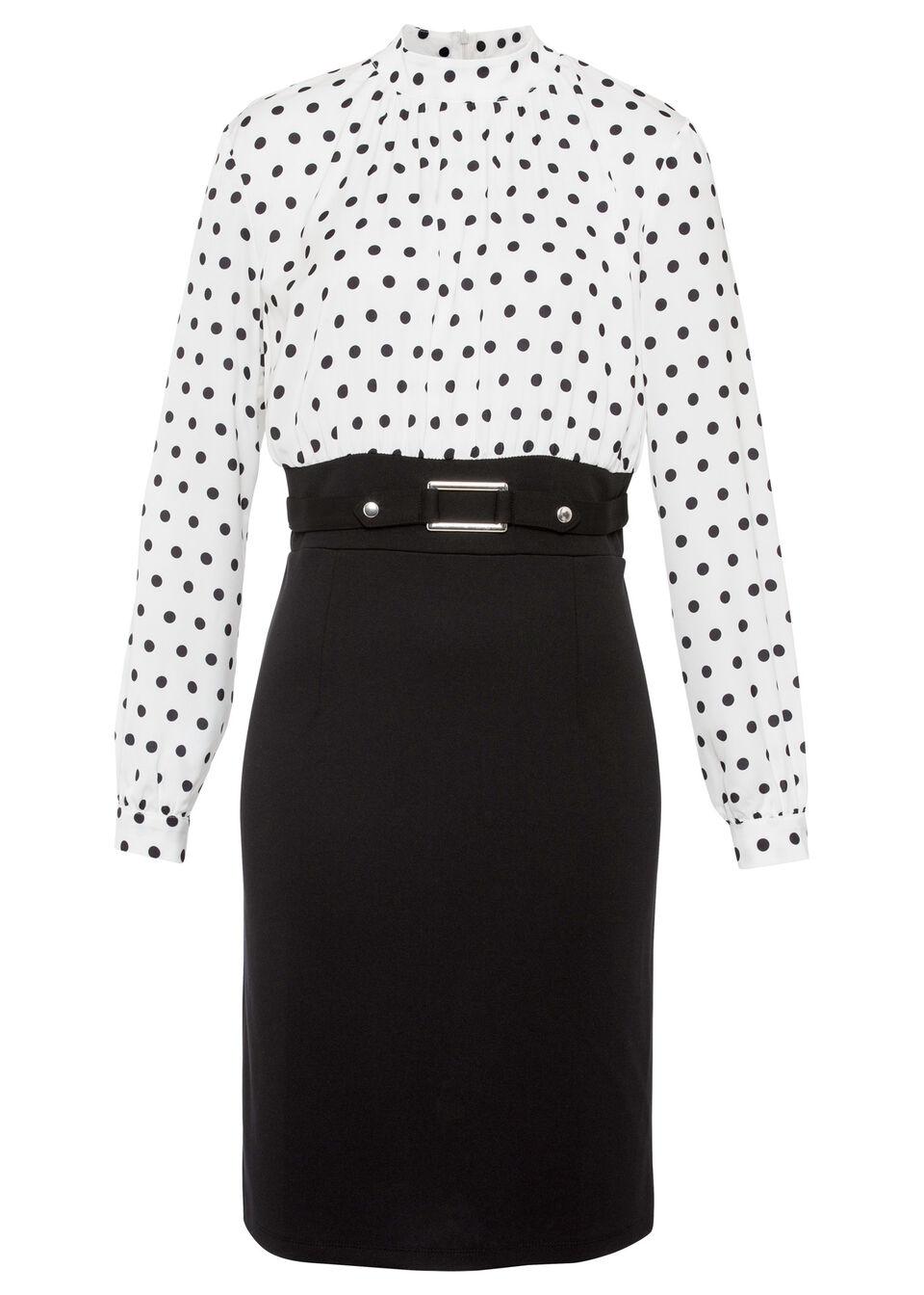 Sukienka w groszki bonprix biało-czarny w kropki